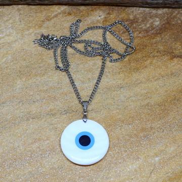 Colar longo olho grego em madreperola bijuterias acessorios