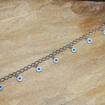 Tornozeleira olho grego prateada bijuterias acessorios