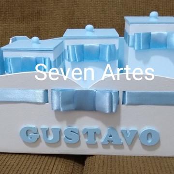 Bandeja 3 potes Kit Higiene Bebe Azul Bebe Quarto Menino