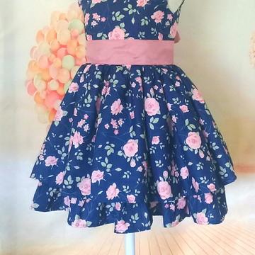Vestido Infantil Azul Floral Rosas