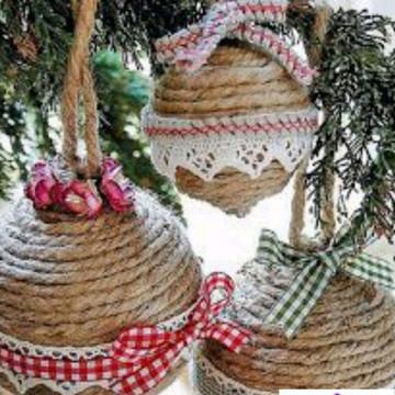 Bolas de Natal Rústicas