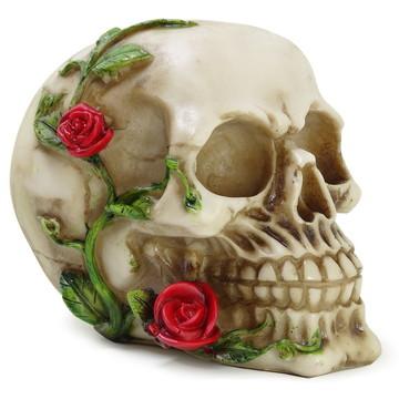 Crânio Caveira C/ Rosas na Boca Real Esqueleto Osso Geek