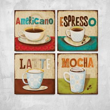 4 Quadros Decorativos Aroma Café