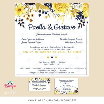 Convite Casamento floral - azul escuro e amarelo + Itens
