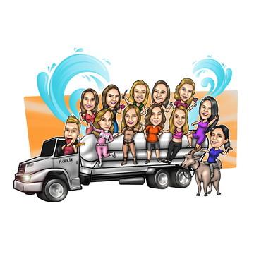 Caricatura De Grupos - Veículo, Carro, Ônibus e Caminhão