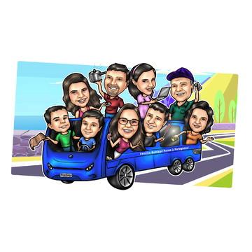 Caricatura de Grupo - Motorhome - Ônibus - Van - Caminhão