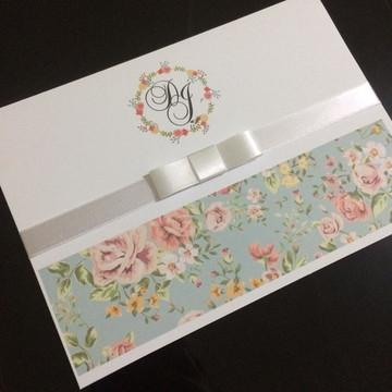 Convite de casamento Rosê Floral barato