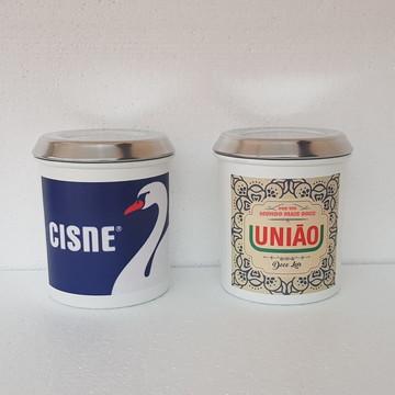 Latas Vintage Retrô Estampa Sal Cisne e Açúcar União