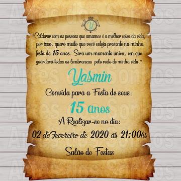 Convite Pergaminho 15 anos