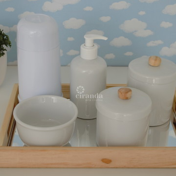 Kit Higiene Bandeja Madeira Pinus Montessoriano Porcelana