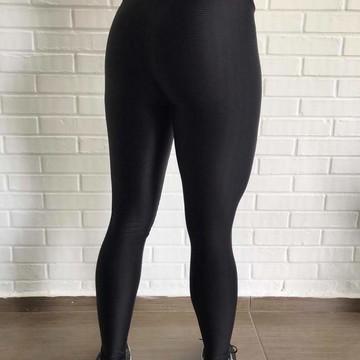 129458582 Calça Legging Preta Cirre 3D Metalizada Feminina