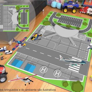 Tapete Ilustrativo P/Brinquedo Avião Aeroporto 100x145cm T14