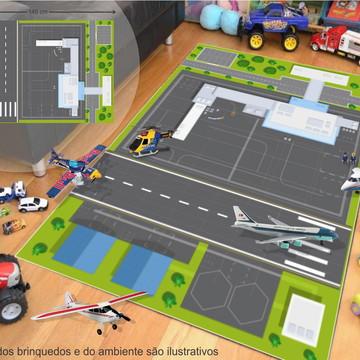 Tapete Ilustrativo P/Brinquedo Avião Aeroporto 100x145cm T15