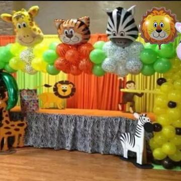 Balões metalizados animais safari gigante 60 cm 6 unidades