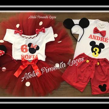 Kit Infantil Masculino e Feminino tema Minnie e Mickey