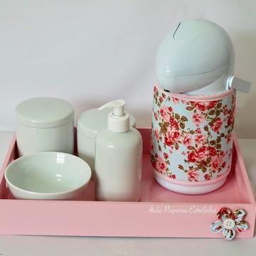 Kit de higiene porcelana rosa floral