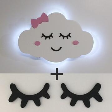 Nuvem com rostinho iluminada com led + par de cilios olhinho