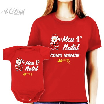 Kit 2 Camisetas Natalinas Mamãe e Filho/Filha