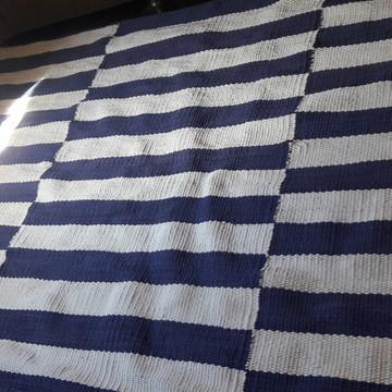 tapete geometrico listra azul e branco 2,00 x 2,50