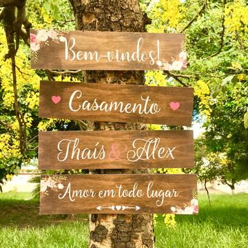 Placa Rústica Indicativa e Sinalização Casamento e Eventos
