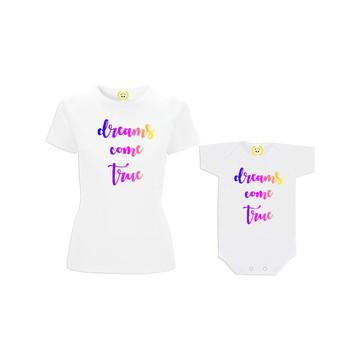 Kit Camiseta Dreams Come True Tal Mãe Tal Filha
