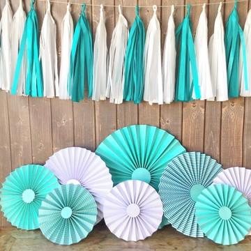 Fioratas e Varal de Franjas FESTA LUXO Tiffany & White