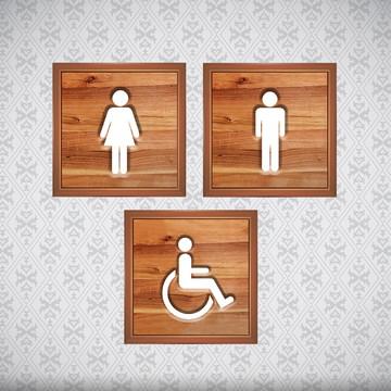 Quadro *Entalhe Lavabo/Banheiro - Fem, Masc e Deficiente