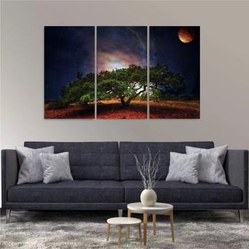 Painel Decorativo Natureza Árvores Riachos Montanhas 3 peças