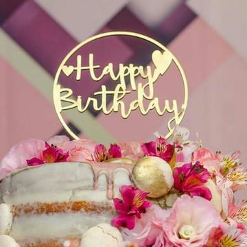 Topo de Bolo dourado Happy Birthday em MDF