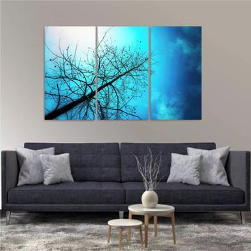 Painel Decorativo Natureza Lagos Árvores Montanhas 3 peças