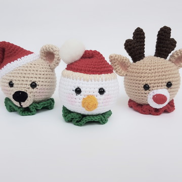 Trio Bolinhas de Natal Amigurumi