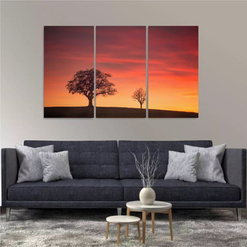 Painel Decorativo Natureza Riachos Árvores Montanhas 3 peças