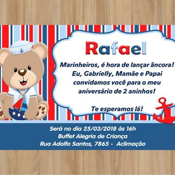 Convite Digital Ursinho Marinheiro