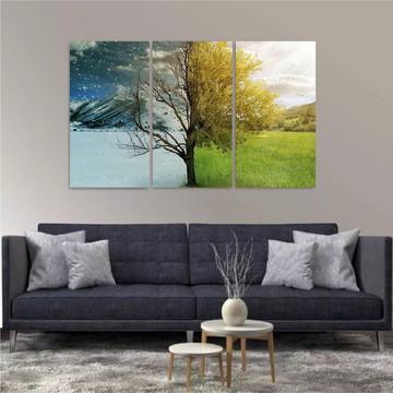 Painel Decorativo Montanhas Riachos Árvores Natureza 3 peças