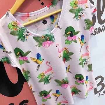 Tshirt Estampa tucano , flamingo,arara