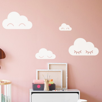 Adesivo decorativo Nuvens com cílios