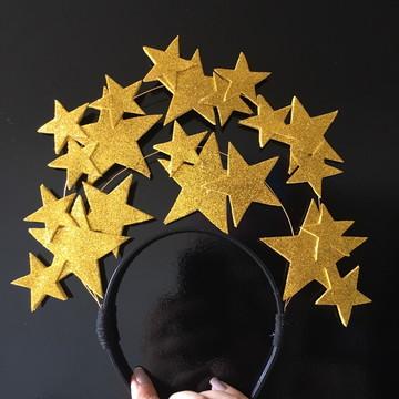 Tiara Estrelas dourada