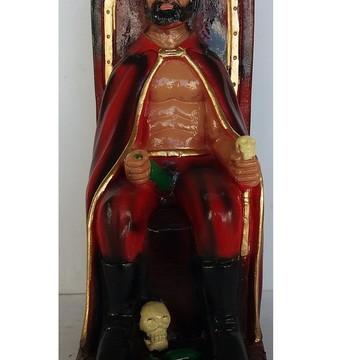 Imagem Exu Rei no trono Escultura 100% em gesso