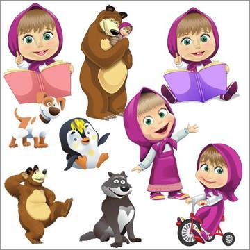 Vetores Masha e o Urso CDR, EPS, Ai e PNG (24 Vetores CDR)