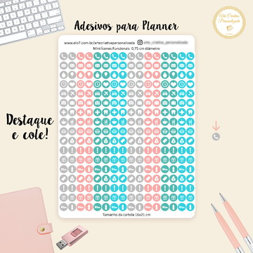 Adesivo para Planner Mini Icones Funcionais