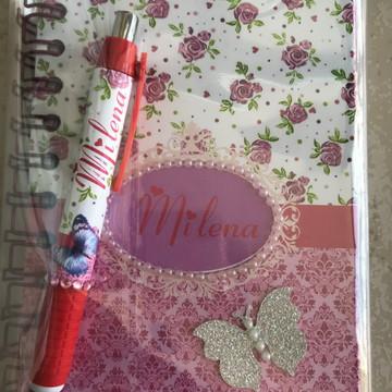 Bloco de anotações 10x 15 capa dura Com caneta