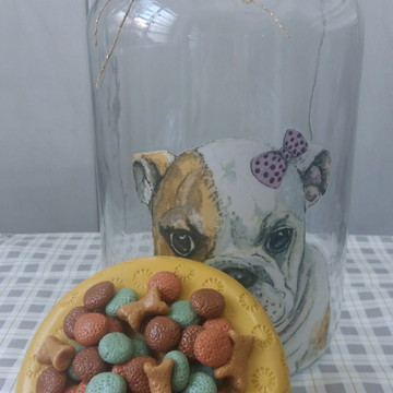 Pote de vidro para ração com biscuit