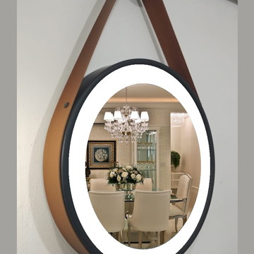 Espelho LED COM ILUMINAÇÃO adnet preto com alça em couro