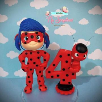 Topo de Bolo LadyBug
