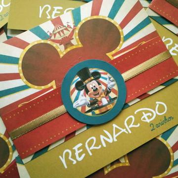 Convite de Aniversário Circo Vintage do Mickey
