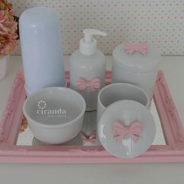 Kit Higiene Porcelana Coroa Bandeja Rosa Potes Gel Termica
