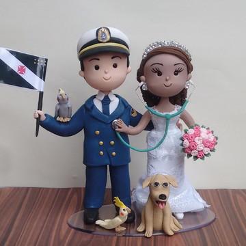 Casal de Noivinhos de Biscuit Marinheiro Sargento