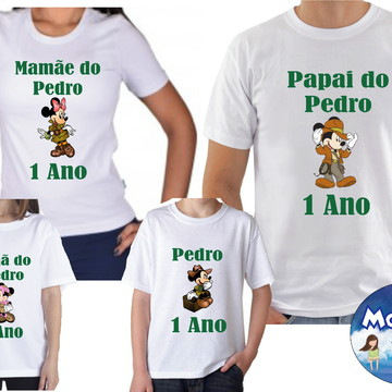 Kit Camisetas Aniversario Mickey Safari Com 4und