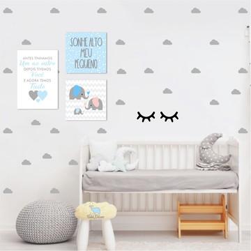 Kit de Placas de Mdf Menino + Adesivos de Cílios e Nuvens