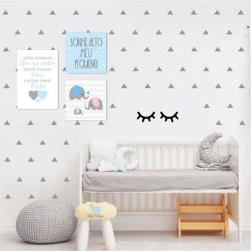 Kit de Placas de Mdf Menino + Adesivos de Cílios e Triângulo